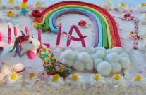 Rainbow and unicorns cake